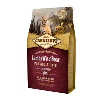 CARNILOVE Sterilised, Miel și Mistreț, pachet economic hrană uscată fără cereale pisici sterilizate, 2kg x 2