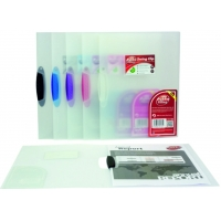 Dosar din plastic transparent, cu clema pivotanta, PUKKA - clema violet