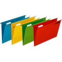 Dosar suspendat cu eticheta, bagheta metalica, carton, Verticflex - albastru