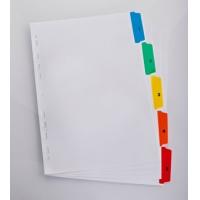 Index carton alb Mylar numeric 1- 5, margine PP color, A4 XL, 170g/mp, ELBA