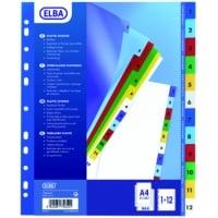 Index plastic color numeric 1-12, A4 XL, 120 microni, ELBA