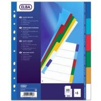 Separatoare plastic color, A4 XL, 120 microni,  6 culori/set, ELBA