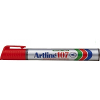 Permanent marker varf rotund, 1.5mm, corp plastic, ARTLINE 107 - rosu