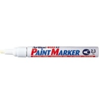 Marker cu vopsea varf rotund 2.3mm, corp metalic, ARTLINE 400XF - alb