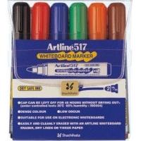 Whiteboard marker varf rotund, 2.0mm, corp plastic, 6cul/set, ARTLINE 517 -(BK,RE,BL,GR,BR,OG)