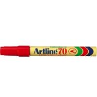 Permanent marker varf rotund, 1.5mm, corp metalic, ARTLINE 70 - rosu