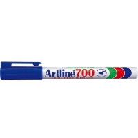 Permanent marker varf rotund, 0.7mm, corp metalic, ARTLINE 700 - albastru
