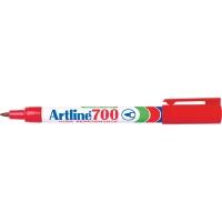 Permanent marker varf rotund, 0.7mm, corp metalic, ARTLINE 700 - rosu