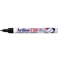 Marker pentru textile, varf rotund 0.7mm, corp metalic, ARTLINE 750 - negru