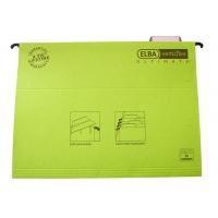 Dosar suspendat cu eticheta, bagheta metalica, carton 330g/mp, ELBA Verticflex Ultimate - verde