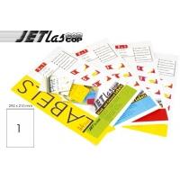 Etichete autoadezive color  1/A4, 210 x 292 mm, 25 coli/top, JETLASCOP - rosu
