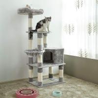 Feandrea Ansamblu de Joaca Pisici Multilevel Gri, 138 cm