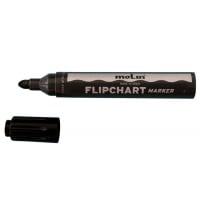 Flipchart marker varf rotund, corp plastic, MOLIN - negru