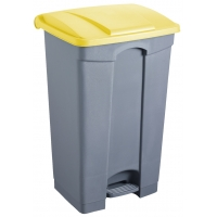 Cos dreptunghiular cu pedala, pentru reciclare, 87 litri, HELIT - corp gri - capac galben