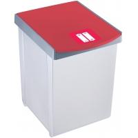 Cos dreptunghiular pentru reciclare, 20 litri, HELIT - corp gri - capac rosu