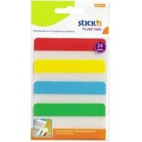 Stick index plastic transp. cu margine color 38 x 76 mm, 4 x 20 file/set, Stick