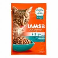 Iams Delights Kitten, Pui, plic 85 g