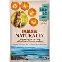 Iams Naturally Adult Cat, Cod, plic 85 g