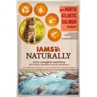 Iams Naturally Adult Cat, Somon, plic 85 g