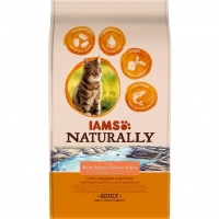 Iams Naturally Adult Cat Somon si Orez, 2.7 kg