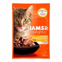 Iams Delights Cat Adult, Pui&Curcan, plic 85 g