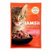 Iams Delights Cat Adult, Som&Pastrav, plic 85 g