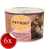 Pachet Petkult Sterilised cu Iepure, 6x185 g