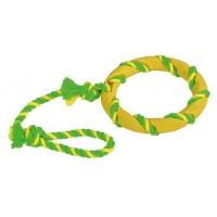 Jucarie Kerbl Ring On Rope, Inel din Cauciuc, cu Sfoara 47 cm