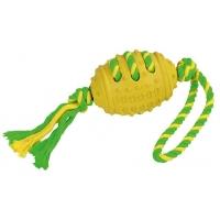 Jucarie Kerbl Fotball On Rope, Minge din Cauciuc, cu Sfoara, 42 cm