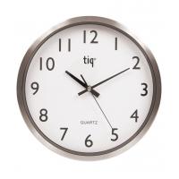 Ceas rotund de perete, D-300mm, cifre arabe, TIQ - rama aluminiu - dial alb