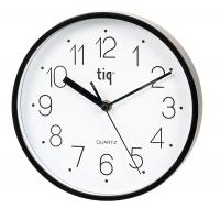 Ceas rotund de perete, D-225mm, cifre arabe, TIQ - rama plastic neagra - dial alb