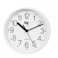 Ceas rotund de perete, D-225mm, cifre arabe, TIQ - rama plastic alba - dial alb
