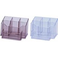 Suport plastic pentru accesorii de birou, 7 compartimente, KEJEA - fumuriu
