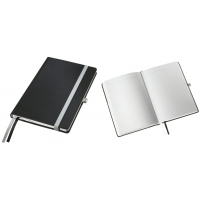 Caiet de birou A5, LEITZ Style, coperti carton rigid - negru satin, hartie crem - dictando