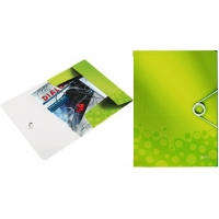 Mapa cu elastic Leitz WOW, PP, verde metalizat
