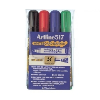 Whiteboard marker varf rotund, 2.0mm, corp plastic, 4buc/set, ARTLINE 517 - (BK,RE,BL,GR)
