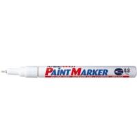 Marker cu vopsea varf rotund 0.8mm, corp metalic, ARTLINE 444XF - alb