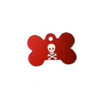 Medalion Os cu Gravare Gratuita, Rosu Aluminiu, Model Pirat, Masura L