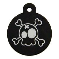 Medalion Tag cu Gravare Gratuita, Rotund L Negru Pirat