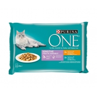Purina One Cat Sensitive, Pui si Ton, 4x85 g