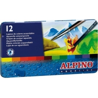 Creioane colorate acuarela, cutie metal, 12 culori/set, ALPINO Aqualine