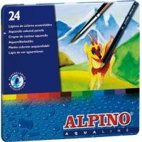 Creioane colorate acuarela, cutie metal, 24 culori/set, ALPINO Aqualine
