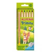 Creioane colorate triunghiulare, cutie carton,  6 culori/set, ALPINO Trimax Jumbo