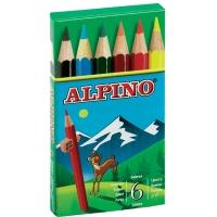 Creioane colorate scurte, cutie carton,  6 culori/set, ALPINO