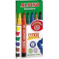 Carioca lavabila,  6 culori/cutie, ALPINO Maxi