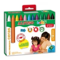 Creioane cerate, cutie carton, 12 culori/set, ALPINO Baby