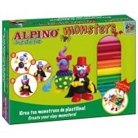 Kit 12 culori plastelina + 4 seturi accesorii, ALPINO Monsters