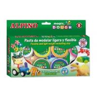 Kit 8 culori x 14gr plastelina magica + 4 seturi accesorii, ALPINO