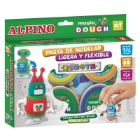 Kit 4 culori x 40gr plastelina magica + 2 mecanisme, ALPINO Robots