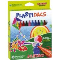 Creioane cerate din plastic, cutie carton, 12 culori/cutie, ALPINO PlasiDacs